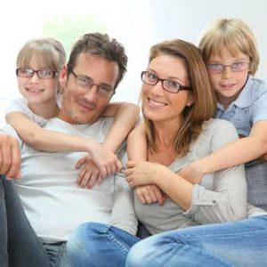 Family of 4 wearing glasses